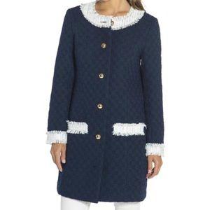 SAIL TO SABLE TWEED NAVY Lined Jacket Coat Sz XL